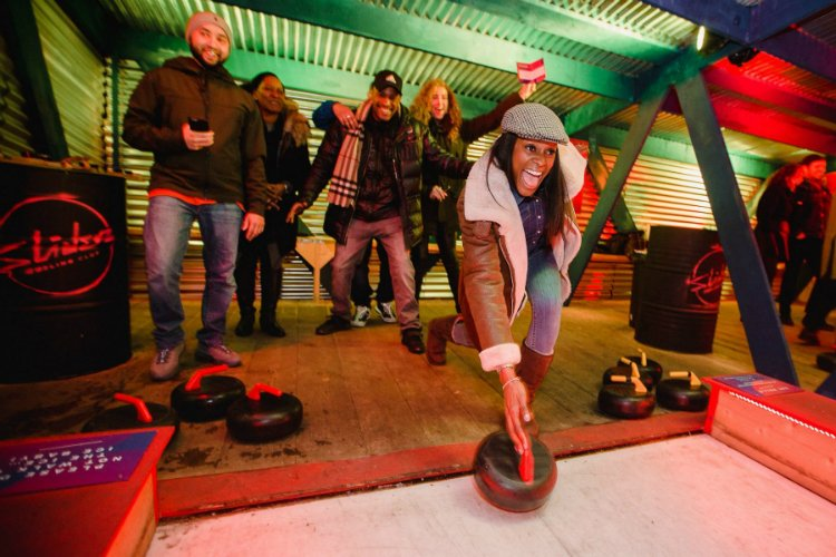 Sliders curling - Roof East - London activity bars